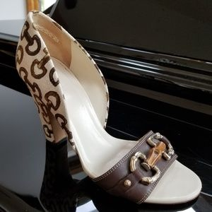 GUCCI Horsebit Print Canvas Heeled Sandals
